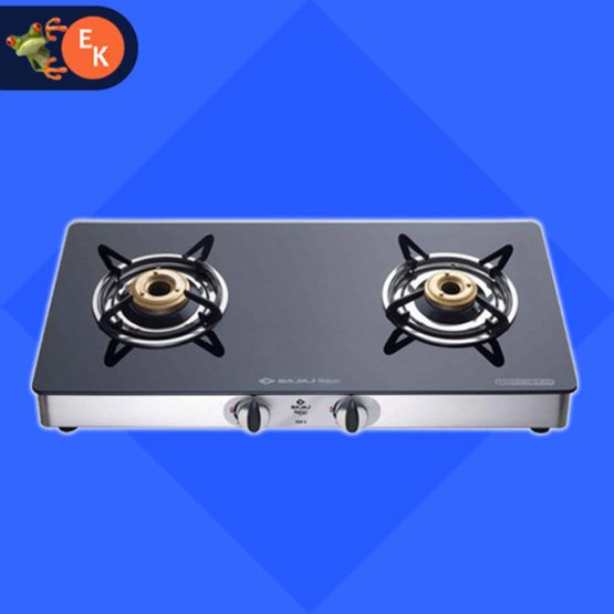 Bajaj CGX 2 LPG Gas Stove 2 Burner Black Cooktop
