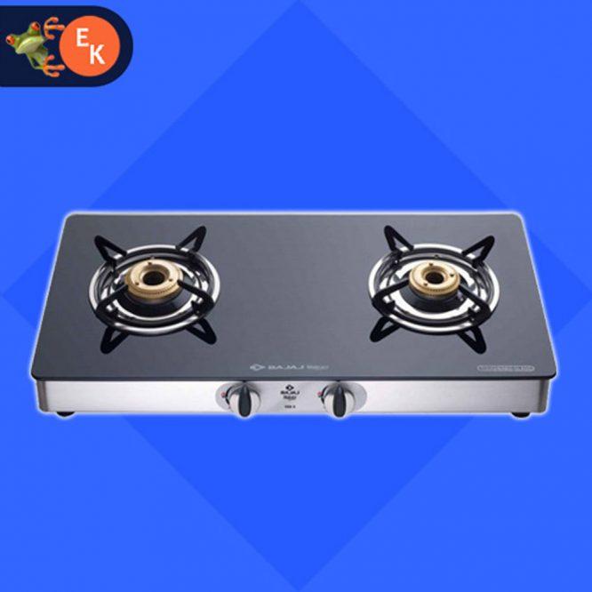 Bajaj CGX 2 LPG Gas Stove 2 Burner Black Cooktop - electrickharido.com