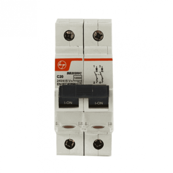 L&T BB20100C Double Pole Miniature Circuit Breakers MCB